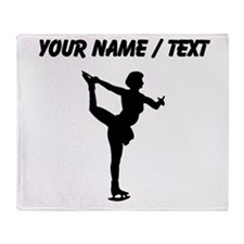 Custom Figure Skate Silhouette Throw Blanket