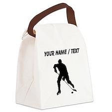 Custom Hockey Player Silhouette Canvas Lunch Bag