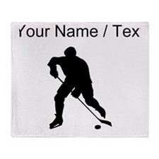 Custom Hockey Player Silhouette Throw Blanket