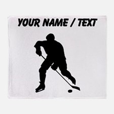 Custom Hockey Player Silhouette Throw Blanket