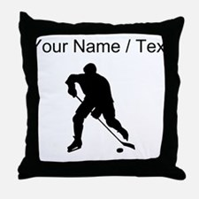 Custom Hockey Player Silhouette Throw Pillow