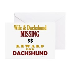 Wife & Dachshund Missing Greeting Cards (Package o