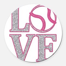 Baseball LOVE Round Car Magnet