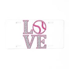Baseball LOVE Aluminum License Plate