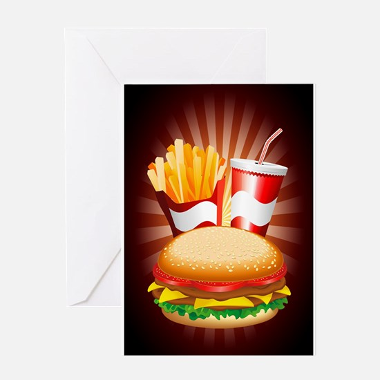 Fast Food Hamburger Fries and Drink Greeting Cards