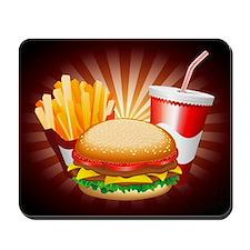 Fast Food Hamburger Fries and Drink Mousepad