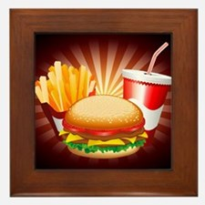 Fast Food Hamburger Fries and Drink Framed Tile