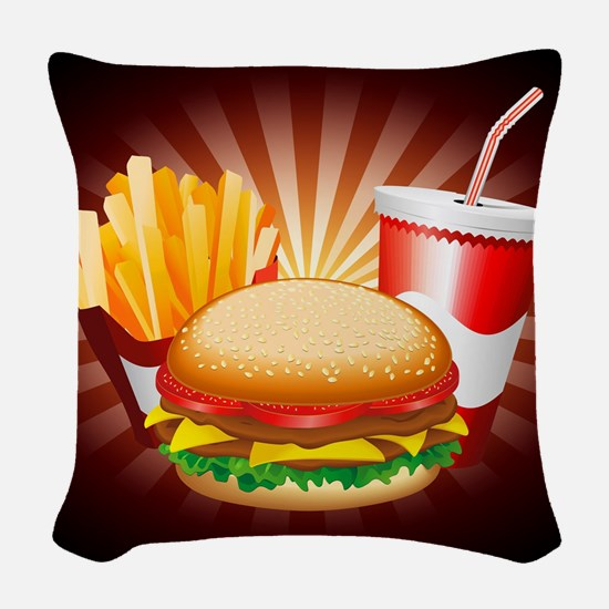 Fast Food Hamburger Fries and Drink Woven Throw Pi