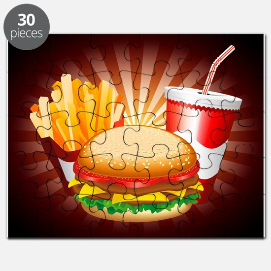 Fast Food Hamburger Fries and Drink Puzzle