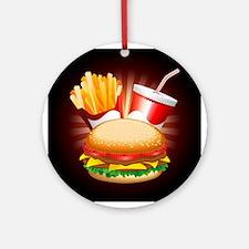 Fast Food Hamburger Fries and Drink Ornament (Roun