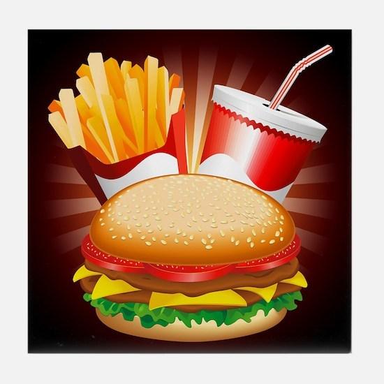 Fast Food Hamburger Fries and Drink Tile Coaster