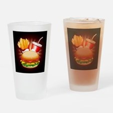 Fast Food Hamburger Fries and Drink Drinking Glass