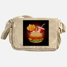 Fast Food Hamburger Fries and Drink Messenger Bag