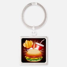 Fast Food Hamburger Fries and Drink Keychains