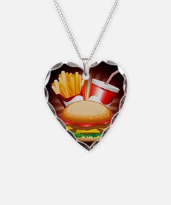 Fast Food Hamburger Fries and Drink Necklace