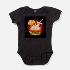 Fast Food Hamburger Fries and Drink Baby Bodysuit