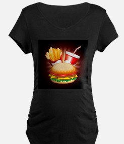 Fast Food Hamburger Fries and Drink Maternity T-Sh