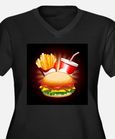 Fast Food Hamburger Fries and Drink Plus Size T-Sh
