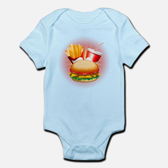 Fast Food Hamburger Fries and Drink Body Suit