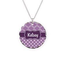 Purple Dots and Lattice Patt Necklace