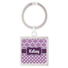 Purple Dots and Lattice Pattern Square Keychain