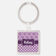 Purple Dots and Lattice Pattern Square Keychain