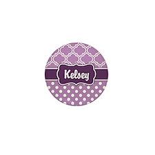 Purple Dots and Lattice Patt Mini Button (10 pack)