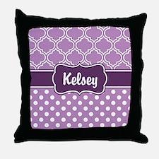 Purple Dots and Lattice Pattern Throw Pillow