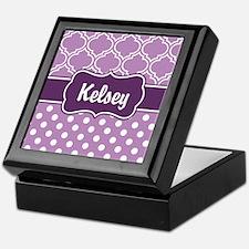 Purple Dots and Lattice Pattern Keepsake Box