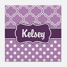Purple Dots and Lattice Pattern Tile Coaster