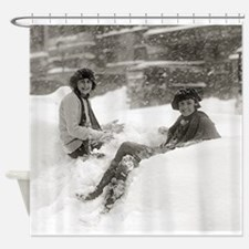 Girls in the Snow, 1922 Shower Curtain
