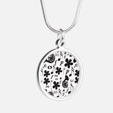 French Horn Classical Music Silver Round Necklace