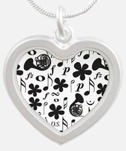 French Horn Classical Music Silver Heart Necklace