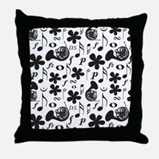 French Horn Classical Music Throw Pillow