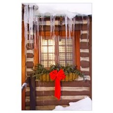 Cabin Window Adorned With Holiday Decorations And Poster