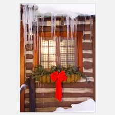 Cabin Window Adorned With Holiday Decorations And