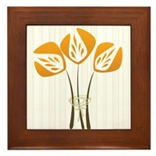 Orange Art Deco Style Tulips Bouquet Floral Framed