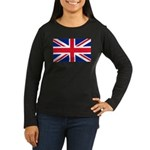 Britain Flag Women's Long Sleeve Dark T-Shirt