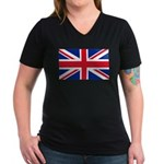 Britain Flag Women's V-Neck Dark T-Shirt