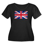 Britain Flag Women's Plus Size Scoop Neck Dark T-S