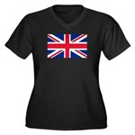 Britain Flag Women's Plus Size V-Neck Dark T-Shirt