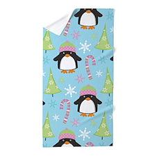 Christmas Snow Penguin Beach Towel