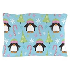 Christmas Snow Penguin Pillow Case