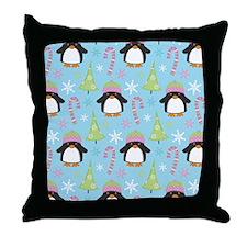 Christmas Snow Penguin Throw Pillow