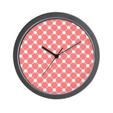 coral and white trellis polka dots Wall Clock