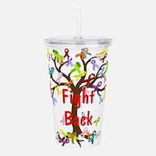 Fight Back Cancer Ribbon Tree Acrylic Double-wall