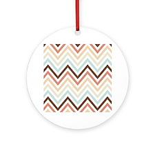 Zigzag Chevron Stripes Pattern Ornament (Round)