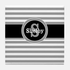 Gray Black Stripe Personalized Tile Coaster