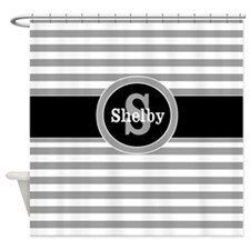 Gray Black Stripe Personalized Shower Curtain