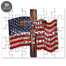 I Will Never Forget 9-11-01 American Flag Cross Pu